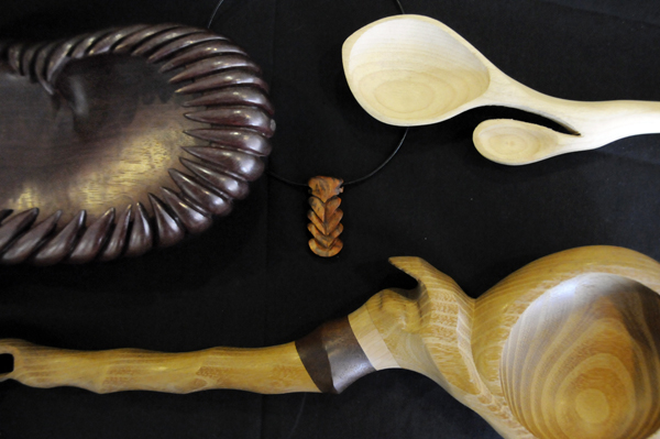 Hand-carved exotic wood pieces by fine artists Tori and Abram Barrett of Soul of Wood. These and other works by them are on display at the Maine Discovery Museum in Bangor. They are in a residency program at the museum that is funded by the Quimby Family Foundation. They plan to interact with the public and teach a workshop to families there.
