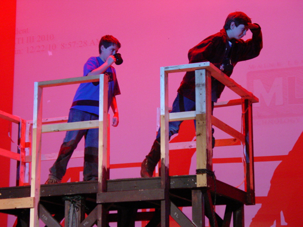 "Deer Isle-Stonington 5th graders Hunter Eaton, left, as Cap'n and Brendan Penfold, right, as Donald Trundy in rehearsal on March 23 for the upcoming Opera House Arts-Deer Isle Stonington Schools production of ""Dear Fish"" at the Reach Performing Arts Center April 1-2."