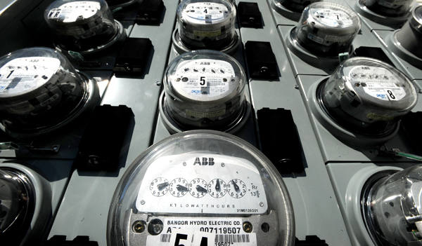 Bangor Hydro-Electric Co. meters are seen outside an apartment building in Bangor recently.