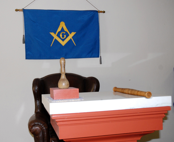 Banners and badges displaying various ranks within the society of Freemasons were on display during a one-day open house at the Fort Kent Masonic Hall.