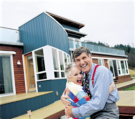 Graham and Treena Kerr have lived in mansions and hotels and on boats, but have finally settled down on a ridge overlooking the Skagit Valley in Washington state, in a house built to resemble a sailboat they once shared.