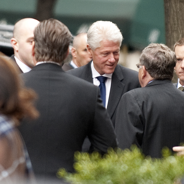 Former U.S. president Bill Clinton leaves the Church of Saint Vincent Ferrer in New York after attending the funeral mass of former vice presidential candidate Geraldine Ferraro Thursday.