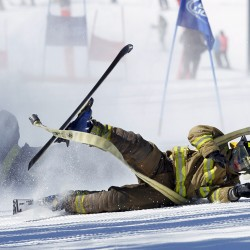 Firefighters race down giant slalom course at Sunday River