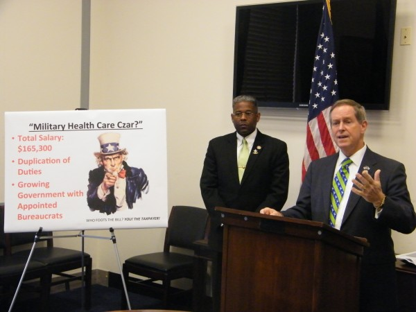 U.S. Rep. Joe Wilson, R-S.C., discusses his opposition to former Gov. John Baldacci's new position within the Department of Defense during a press conference in Washington, D.C., on Thursday, March 17, 2011. Wilson is joined by U.S. Rep. Allen West, R-Fla., who along with Wilson one of seven co-signers of a letter urging defense officials to eliminate the position.