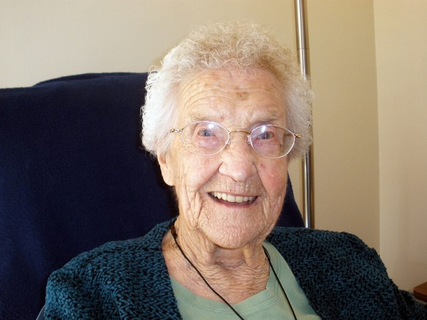 Edna Bragg, holder of Hampden's Boston Post Cane as its oldest resident, who now lives at Phillips-Strickland House in Bangor, will celebrate her 106th birthday Friday, April 1.