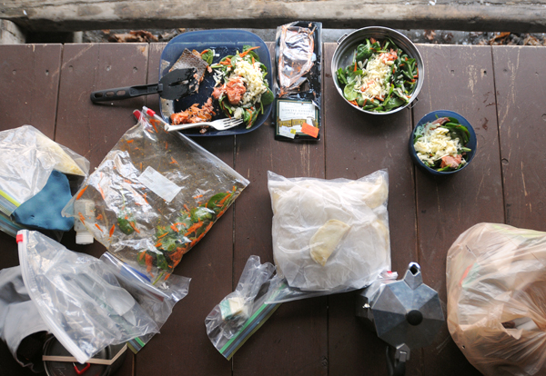 Some of the food the first evening during a winter trip to climb Mount Katahdin in Baxter State Park in March 2011.