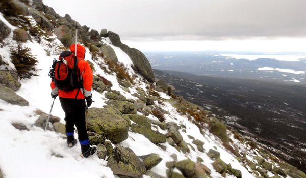 View from the Abol Trail during a winter trip to climb Mount Katahdin in Baxter State Park in March 2011.