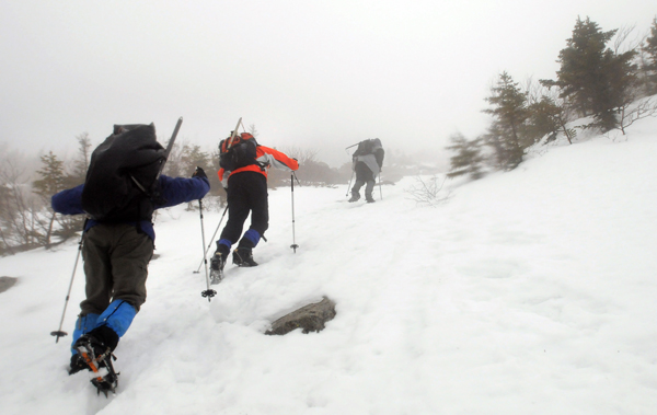 Climbing up the Abol Trail during a winter trip to climb Mount Katahdin in Baxter State Park in March 2011.