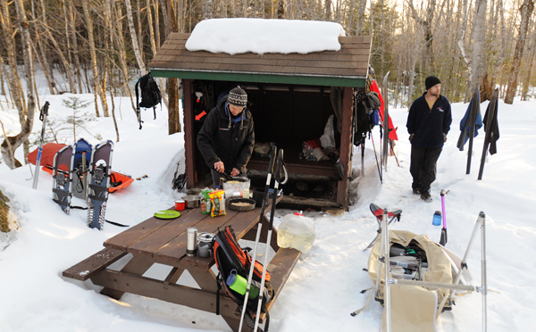 Our lean-to at the Abol Campground during a winter trip to climb Mount Katahdin in Baxter State Park in March 2011.