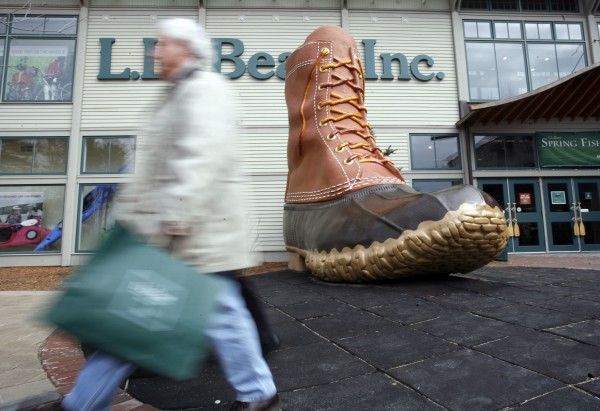 Shopper Donald McGrath of Stony Brook, N.Y., leaves the L.L. Bean store in Freeport. The company has announced it would offer free shipping of its products.