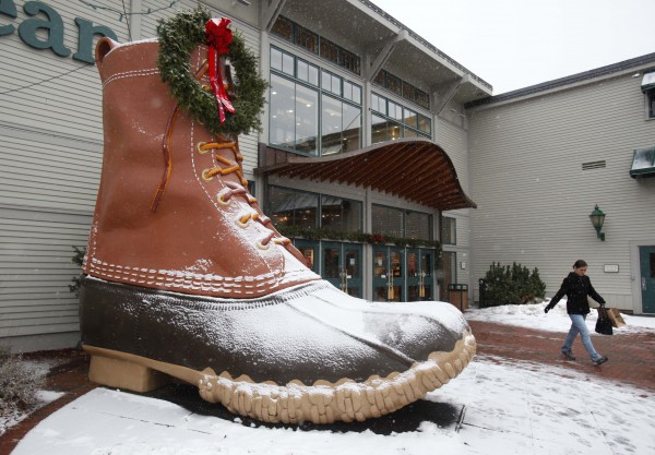 A shopper leaves the L.L. Bean retail store in Freeport, Maine.
