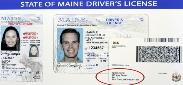 A poster showing the new Maine driver's license was unveiled at a news conference in Augusta, Maine, on Tuesday, March 22, 2011. Secretary of State Charlie Summers showed the new Maine license design featuring updated security enhancements. The card has an image of a moose and a landscape of Mount Katahdin. There are also vertical formats for cardholders below the age of 21, larger font type for names and driver license numbers and the option for an address to be printed on the back.