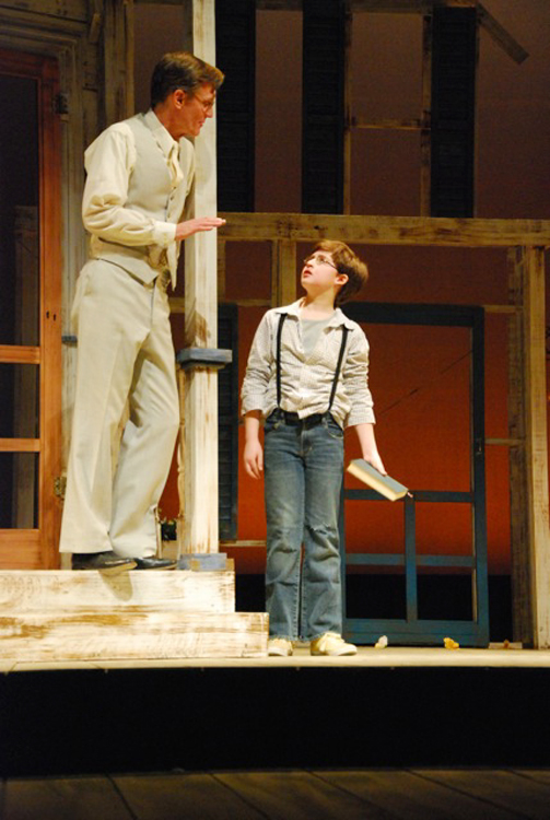 Atticus played by Matthew Conlon (left) and Jem played by Nick Danby.  Penobscot Theatre Company presents Harper Lee's To Kill A Mockingbird, March 30-April 17 at the Bangor Opera House.