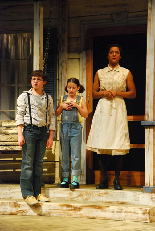 Jem (Nick Danby, from left) Scout (Brooke Jones) and Cal (Delissa Reynolds)  Penobscot Theatre Company presents Harper Lee's To Kill A Mockingbird, March 30-April 17 at the Bangor Opera House.