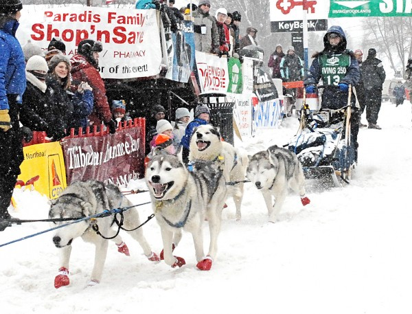 Ashland, New Hampshire, musher Jaye Foucher takes off down the start shoot during her 2008 run of the Irving Woodlands Can Am Crown 250-mile sled dog race in Fort Kent. This year Corey Nutrition, maker of Inukshuk dog food in Fredericton, New Brunswick, is donating one-pound of dog food for every dog participating in the 2011 race to be used as the required emergency food each musher must carry in their sled bags. &quotI think it's a wonderful thing Inukshuk is doing,&quot Foucher, who will run this year's Can Am 250, said.