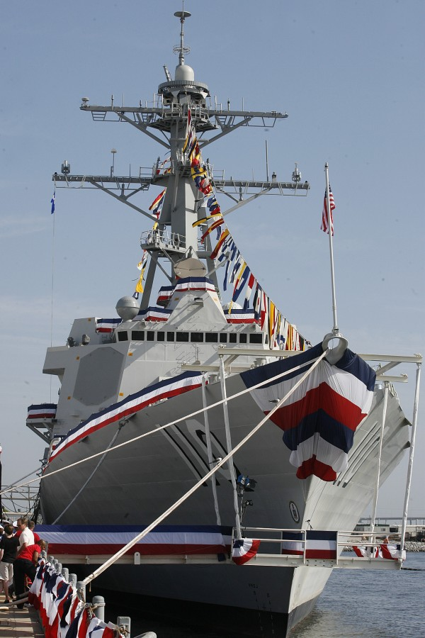 Northrop Grumman's 28th Aegis guided missile destroyer William P. Lawrence is docked before the ship's christening last year at Northrop Grumman Shipbuilding in Pascagoula, Miss. (AP Photo/Chip English)