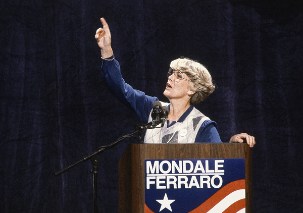 This 1984 file picture shows Geraldine Ferraro, the first woman to run for U.S. vice president on a major party.