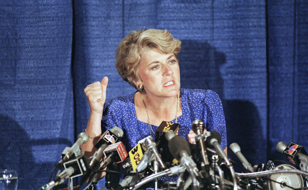 In this 1984 file photo, Geraldine Ferraro speaks at a news conference in the Queens borough of New York. The first woman to run for U.S. vice president on a major party ticket has died. Geraldine Ferraro was 75. A family friend said Ferraro, who was diagnosed with blood cancer in 1998, died Saturday, March 26, 2011 at Massachusetts General Hospital.