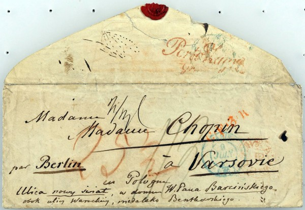 The envelope of a letter written by Polish composer and pianist Frederic Chopin to his parents and sisters in Warsaw in 1847 is seen on display at the Frederic Chopin Museum in Warsaw, Poland. A collection of letters written by Chopin considered lost in 1939 have been found and donated to Warsaw's Chopin museum. Address reads in French and Polish: Mrs. Chopin through Berlin to Warsaw in Poland.