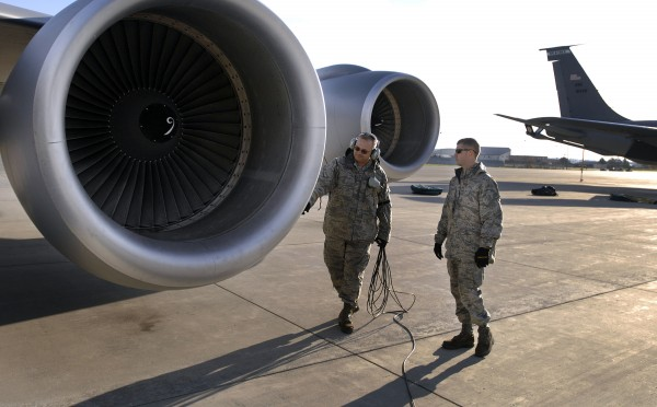 Crew chiefs go through pre-flight checks for a mission Tuesday, Oct. 12, 2010, on a KC-135 aircraft at the 101st Air Refueling Wing, in Bangor, Maine. The Maine Air National Guard should know within two weeks the fate of the program that refuels military aircraft crossing the Atlantic Ocean.