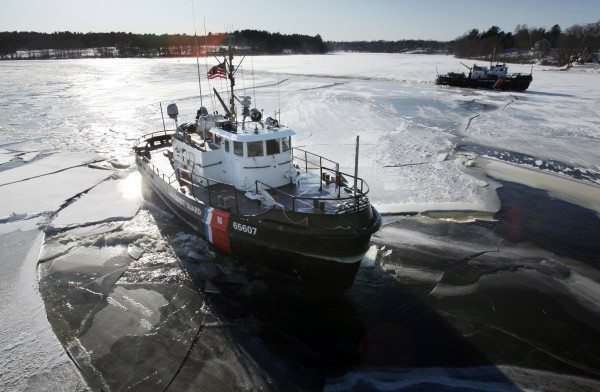 The U.S.Coast Guard cutters Bridle (foreground) and Tackle, break ice in the Kennebec River in Jan. 2010 in Richmond to help lessen the chances of winter flooding.
