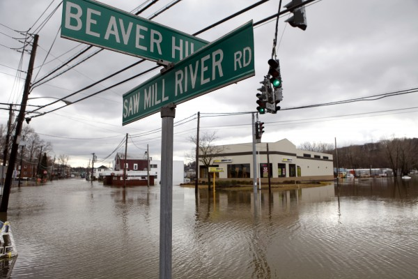 Saw Mill River Road resembles its namesake as it is innundated by floodwaters Friday, March 11, 2011, in Elmsford, N.Y.  Heavy rains overnight led the Saw Mill River and others to overflow their banks, causing major flooding across Westchester County.