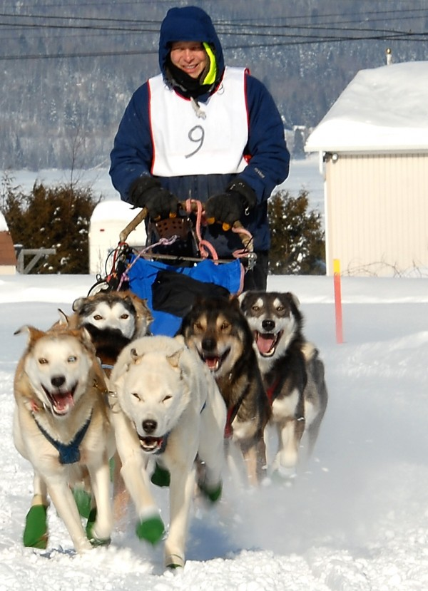 Four time Can Am Crown International Sled Dog Race winner and Yukon Quest finisher Martin Massicotte of St-Tite, Quebec takes off at the start of the Irving Woodlands-Mad Bomber 100 Sled Dog Race in 2009.