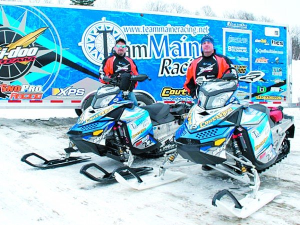 Team Maine racers Robert Gardner (left) of Norridgewock and Richard Knippling of Monmouth are shown in this 2009 photo ready for the Cain's Quest snowmobile endurance race in Labrador.