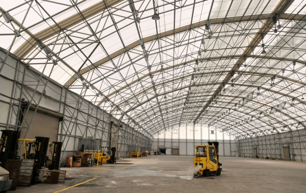 One of the two massive warehouses at the Sprague Energy Terminal in Searsport that the company is marketing and hopes to attract businesses for long term use of the space.