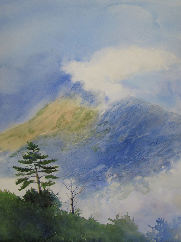&quotKatahdin Sentinel&quot watercolor of Katahdin by Evelyn Dunphy, 20 x 28&quot.