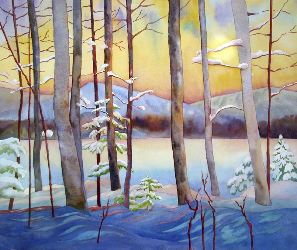 &quotGolden Winter Evening&quot watercolor from Katahdin Lake by Evelyn Dunphy, 18 x 24&quot.