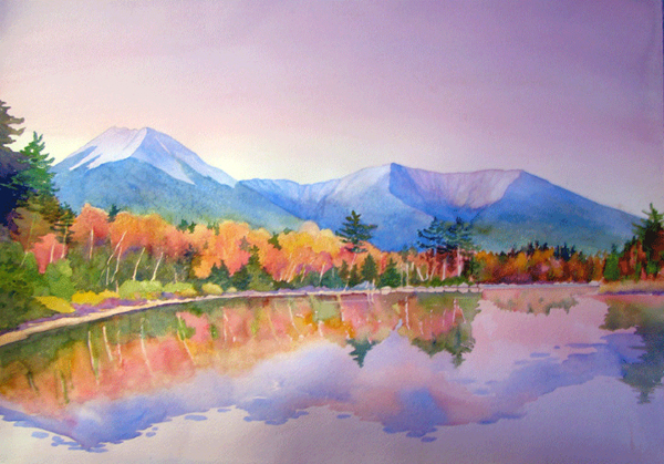 &quotOctober Sunrise&quot from Katahdin Lake watercolor by Evelyn Dunphy, 22 x 30&quot.