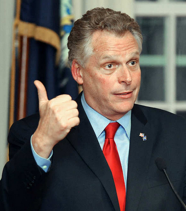 Terry McAuliffe, former chairman of the Democratic National Committee, former chairman of the Hillary Clinton for President campaign and co-chairman of Bill Clinton's re-election committee, speaks at the Muskie Archives at Bates College in Lewiston Friday night.