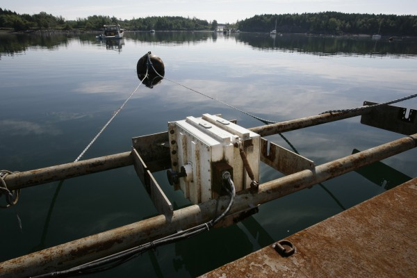 A generator used for a tidal power project is seen mounted on a barge in Eastport, Maine, on July 15, 2008. Ocean Renewable Power Co. claims that its prototype underwater power system has passed all of its tests, paving the way for a commercial unit to be connected to the region's grid by the end of the year.