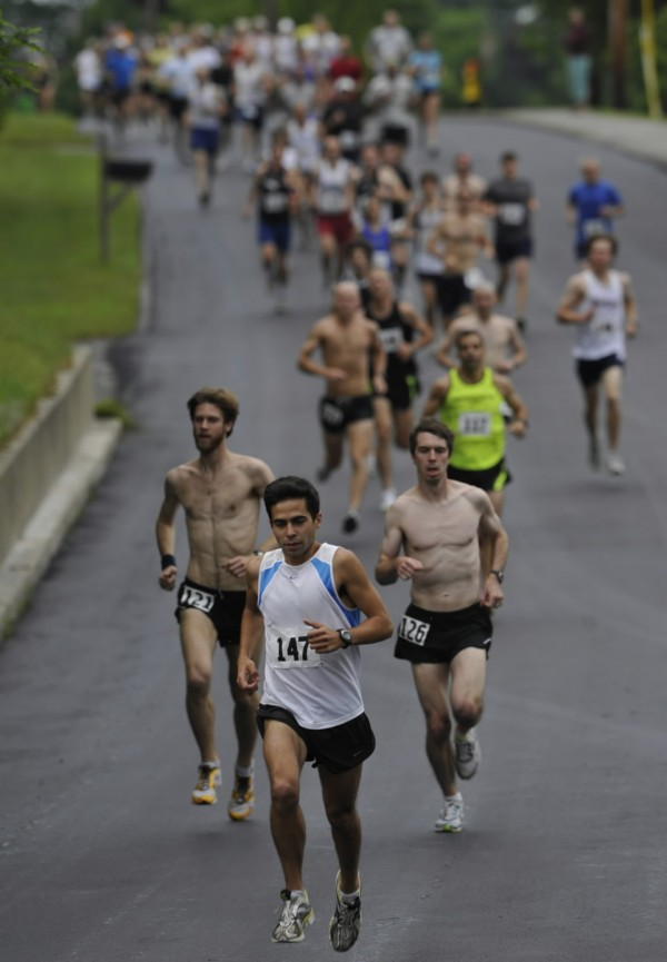 Louie Luchini of Ellsworth leads the pack early in the Tour du Lac 10-miler in Bucksport last summer. Luchini also won the Flattop 5K race last spring, and the sixth edition of that race will be run in Lamoine on Saturday.
