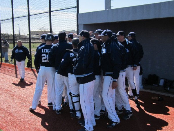 The UMaine Black Bears huddle prior to the first game of Saturday's Fairleigh Dickinson Baseball Classic in Jersey City, N.J.