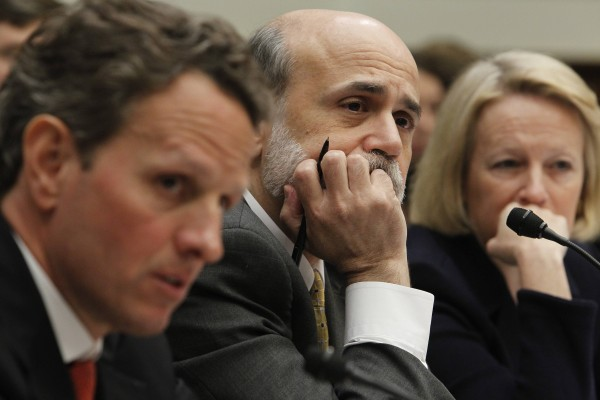 Treasury Secretary Timothy Geithner, Federal Reserve Chairman Ben Bernanke, and Securities and Exchange Commission Chair  Mary Schapiro testify before the House Financial Services Committee regarding financial reform on Capitol Hill in Washington, Tuesday, April 20, 2010.