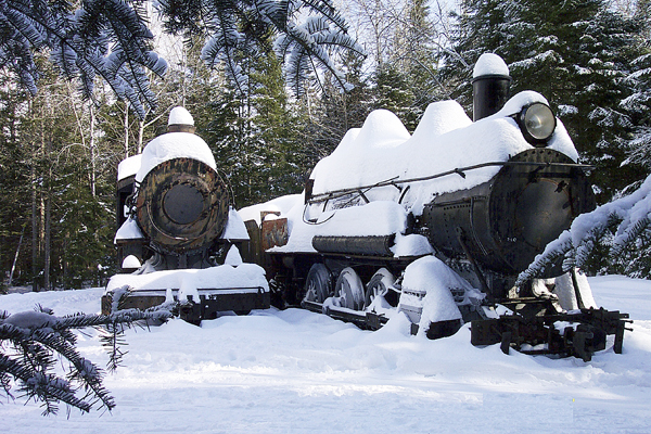 The locomotives at Eagle Lake in winter.
