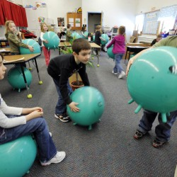 Replacing classroom chairs with stability balls helps students focus, study finds