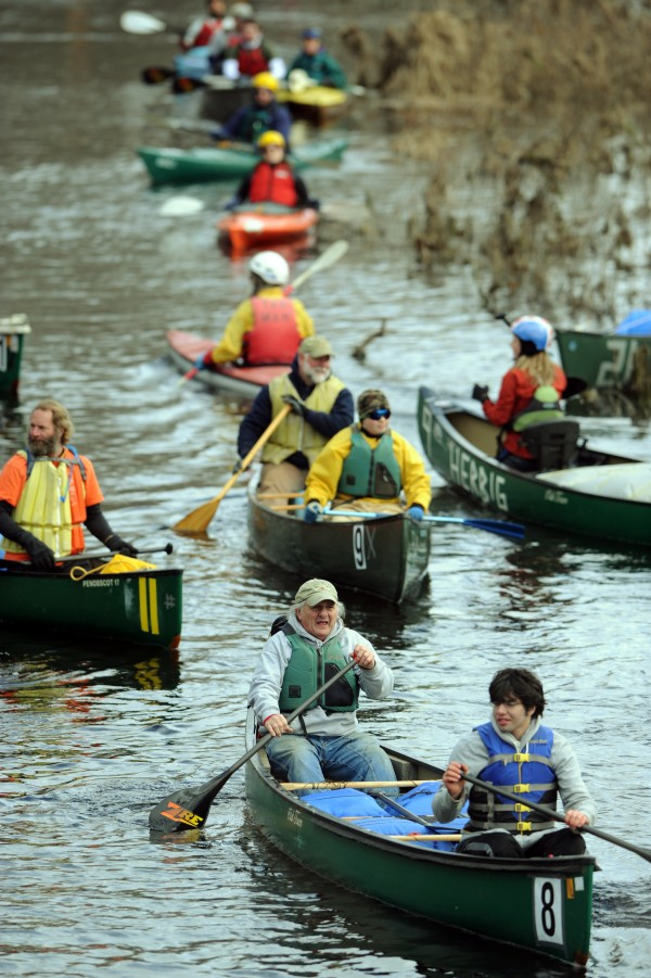 Paddlers line up along the St. George's River for start of the 32nd annual St. George River race on Saturday in Searsmont.