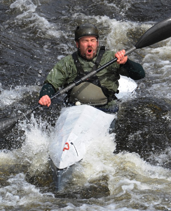 """Ryan Linehan of Westport Island reacts after hitting a rock during the 32nd annual St. George River race on Saturday in Searsmont. """"I creamed it"""" he said as he inspecting a crack in the bow the finish line."""