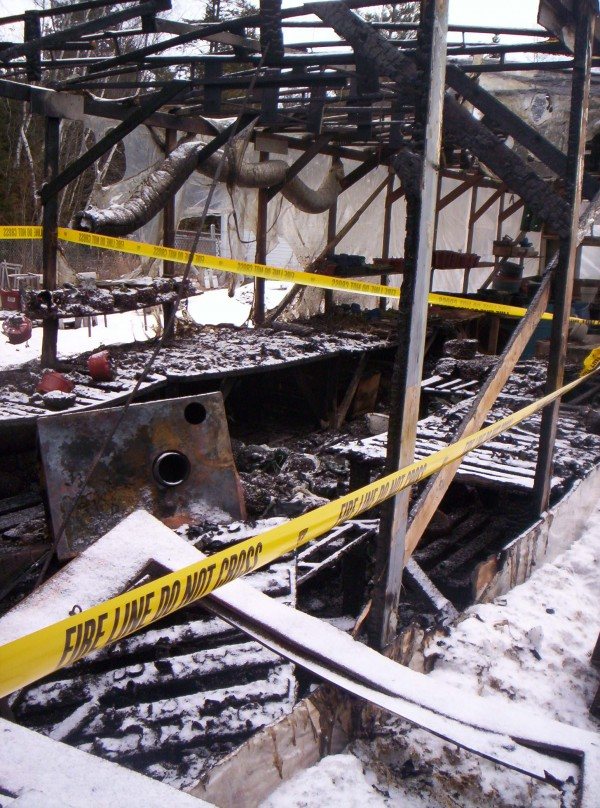 Snap of the Dragon greenhouse, which was gutted by fire on Friday, March 18, 2011.