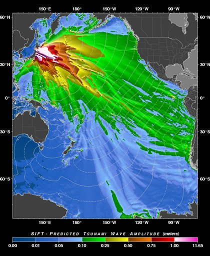 This image provided by the Pacific Tsunami Warning Center shows  a &quottsunami forecast model&quot created by the Pacific Tsunami Warning Center in Ewa Beach, Hawaii predicting the wave height of the tsunami generated by the Japan earthquake Friday March 11, 2011. The Hawaii's islands are located at the edge of the yellow pattern, but waves could be higher along the coastline when the tsunami arrives.