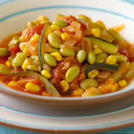 Savory edamame stew is rich in protein and flavor, low in fat.