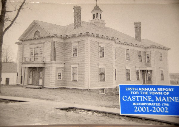 The 2002 Castine town report featured a photo of Emerson Hall in honor of the building's 100th anniversary. Town officials have authorized an architural survey of the building to identify areas that need repair and renovation.