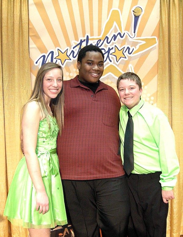 The stars that shined the brightest during the Northern Star competition on Feb. 27 were soloist DeShawn Russell, center, and group act Gabrielle and Christian Sirois.
