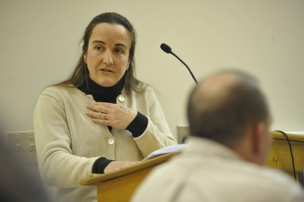 Hampden resident Gayle Zydlewski addressed the Hampden town council and other concerned residents when the town's updated comprehensive plan came up on the agenda Monday evening, March 7, 2011. &quotI believe the plan is essential for the town to move forward,&quot said Zydlewski who also said she helped with drafting  the updated comprehensive plan in 2007 and 2008.