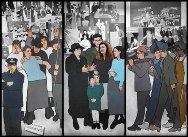 Scenes from a labor-themed mural by Tremont artist Judy Taylor. Gov. Paul LePage ordered the mural removed from labor department offices over the weekend. Portland City Councilors had planned on discussing whether to host the mural on April 4, but have since opted not to take up the matter.