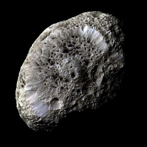 Saturn's cratered moon Hyperion is thought to be filled with caves.