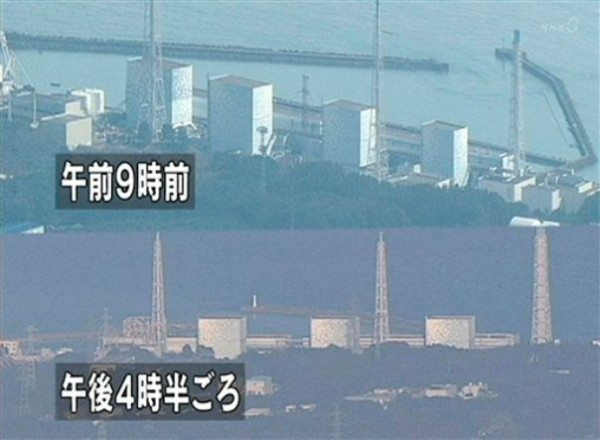 In these combined images made from Japan's NHK television, the Fukushima Daiichi power plant's Unit 1 is seen before (top) and after (bottom) an explosion in Okumamachi, Fukushima prefecture, Japan, Saturday, March 12, 2011. The walls of the building at the nuclear power station crumbled Saturday as smoke poured out and Japanese officials said they feared the reactor could melt down following the failure of its cooling system in a powerful earthquake and tsunami.